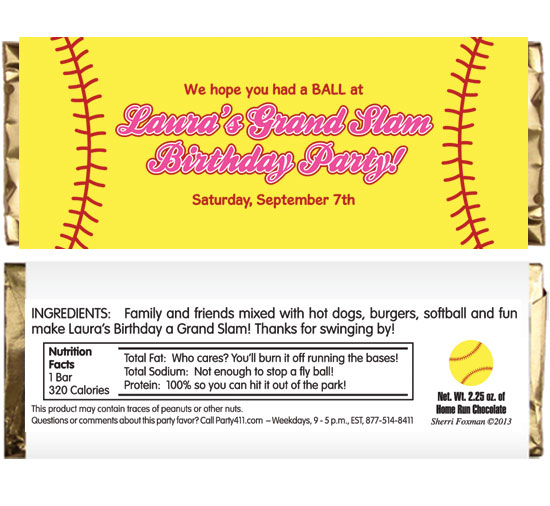 Softball Theme Candy Bar Wrapper