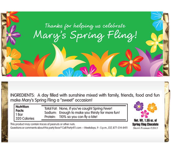 Bright Spring Flowers Theme Candy Bar Wrapper