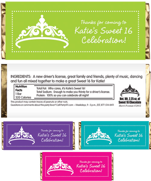 Tiara Theme Candy Bar Wrapper