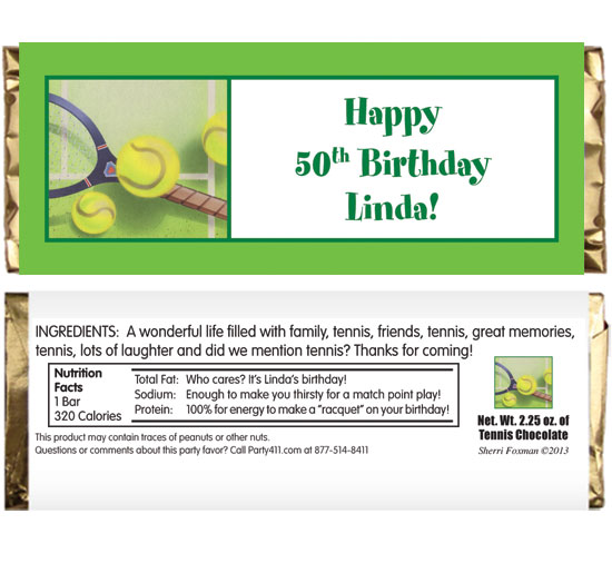 Tennis Party Theme Candy Bar Wrapper