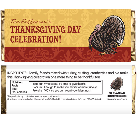 Thanksgiving Turkey Theme Candy Bar Wrapper