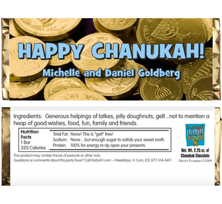 Chanukah Gelt Theme Candy Bar Wrapper