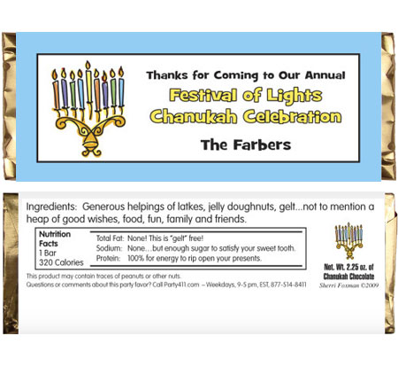 Chanukah Menorah Theme Candy Bar Wrapper