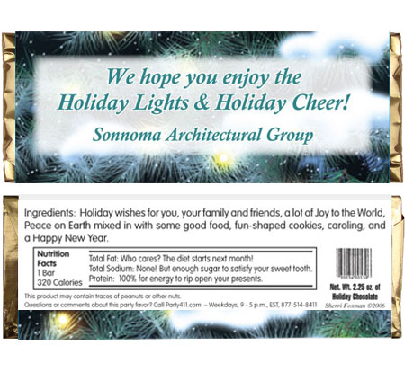 Winter Holidays Theme Candy Bar Wrapper