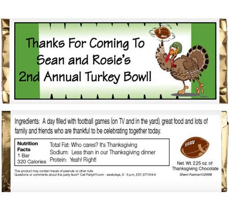 Thanksgiving Turkeybowl Theme Candy Bar Wrapper