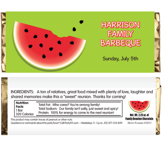 Watermelon Theme Candy Bar Wrapper