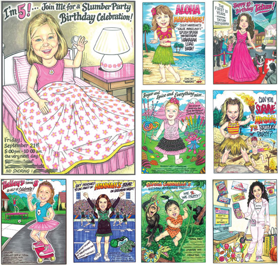 Birthday Custom Caricature, Girls