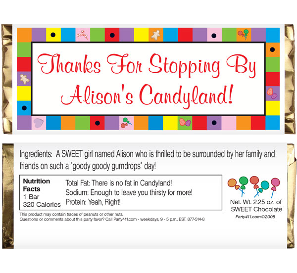 Candyland Theme Candy Bar Wrapper