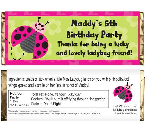 Ladybugs Theme Candy Bar Wrapper