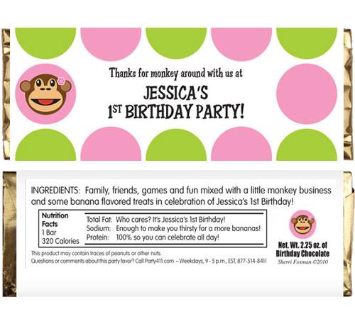 Monkey Theme Candy Bar Wrapper, Girl Theme