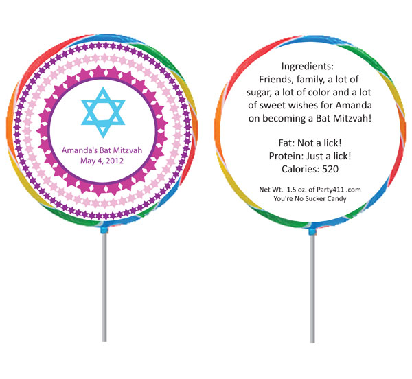 Bat Mitzvah Lollipop Favor