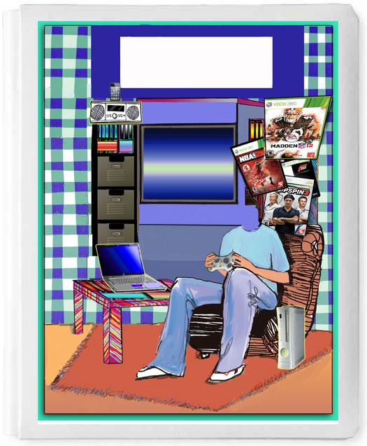 Personalized 3D Sign In Book, Boy On Easy Chair