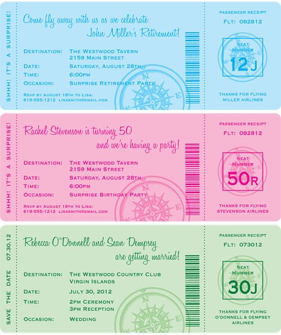 Custom Boarding Pass Invitation