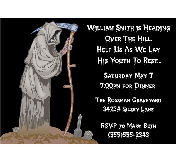 Over The Hill Grim Reaper Invitation