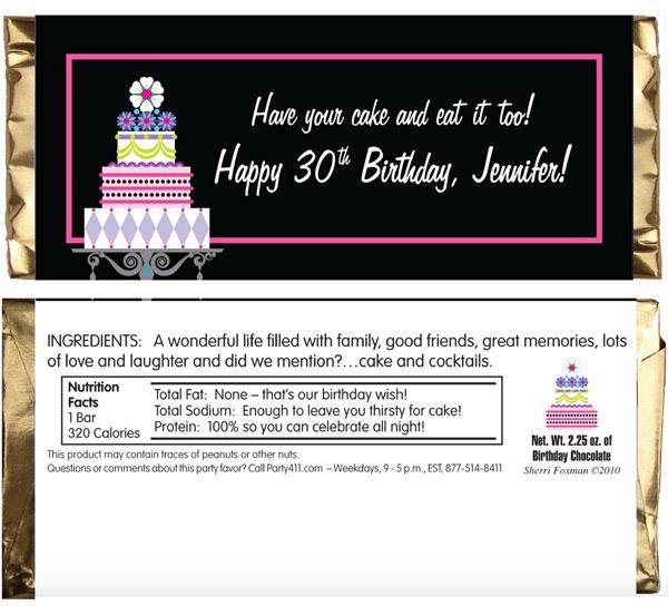 Birthday Cake Theme Candy Bar Wrapper