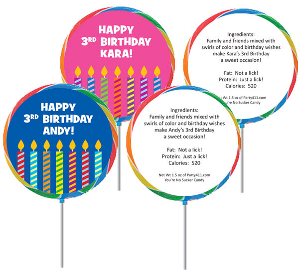 Birthday Candles Theme Custom Lollipop