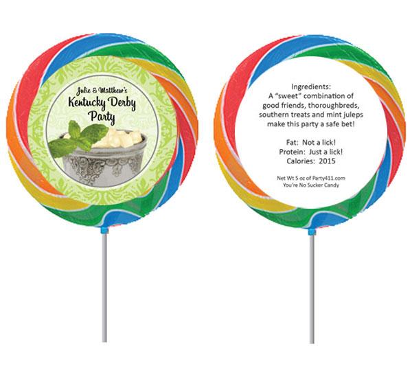 Kentucky Derby Julip Theme Custom Lollipop