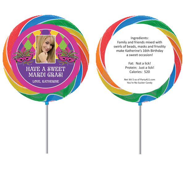 Mardi Gras Party Theme Photo Lollipop