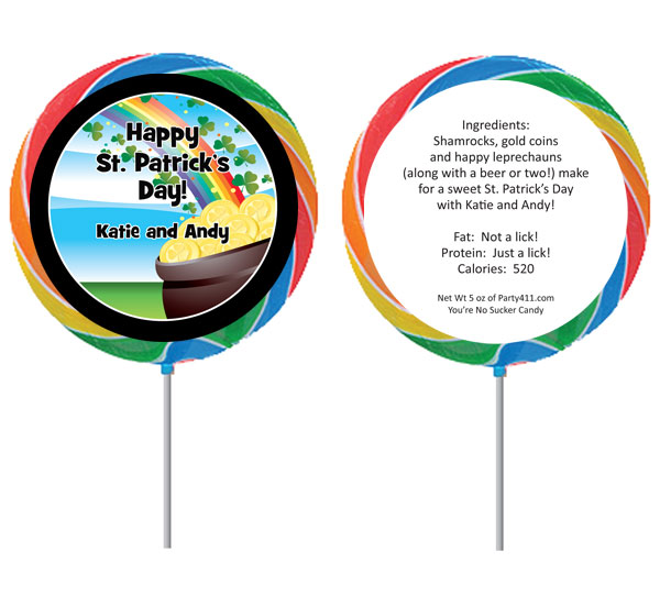 St. Patrick's Day Gold & Rainbow Lollipop