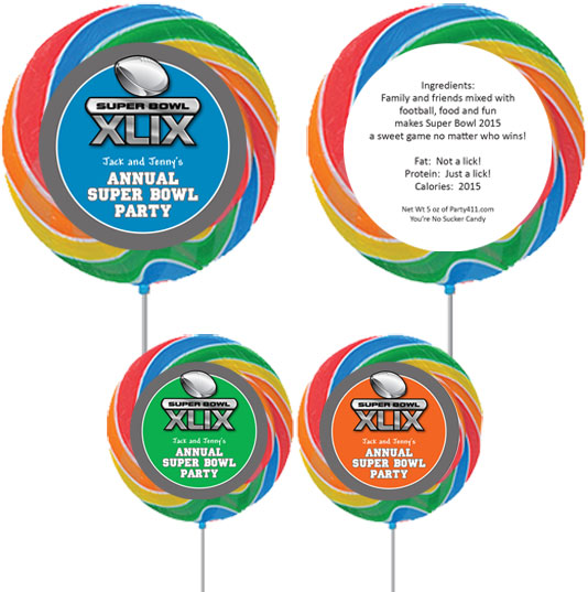 2015 Super Bowl XLIX Theme Custom Lollipop