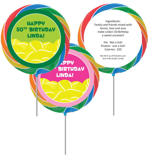 Tennis Theme Party Custom Lollipop