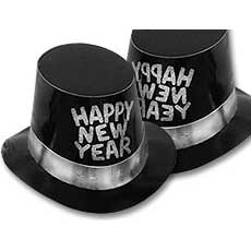 Silver New Year's Top Hat