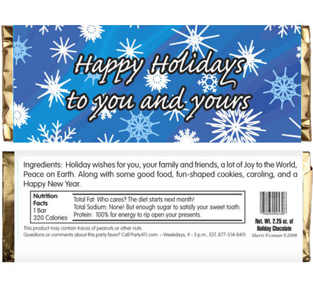 Winter Snow Theme Candy Bar Wrapper