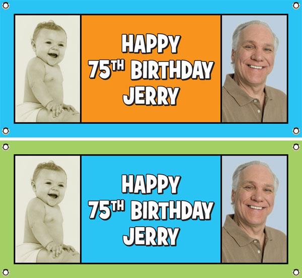 Birthday Double Photo Blue Theme Banner