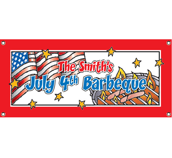 Patriotic Party Barbecue Theme Banner