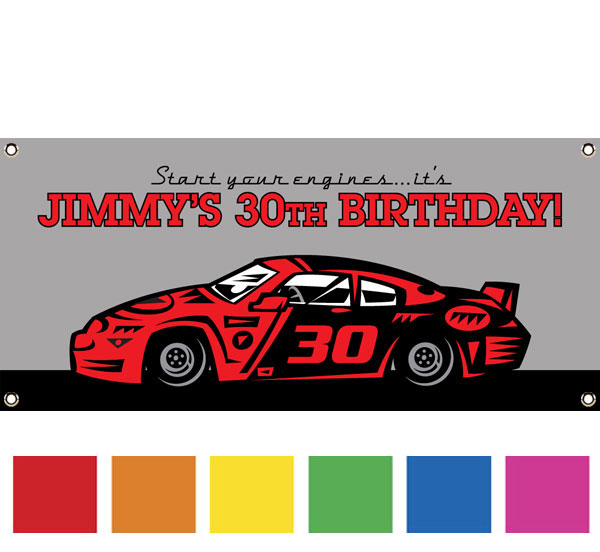 Race Car Party Theme Banner