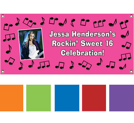 Rock 'n Roll Theme Pink Banner