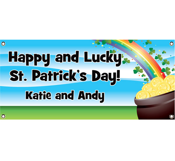 St. Patrick's Day Gold & Rainbow Theme Banner