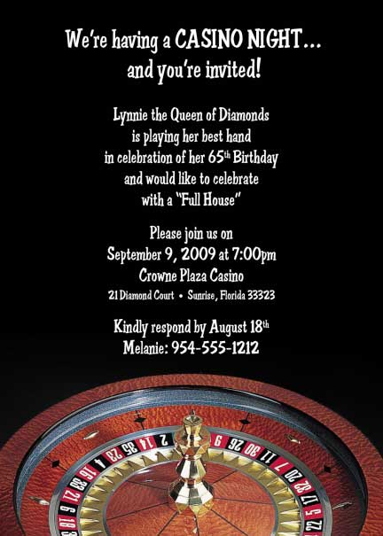 casino roulette invitation, Party invitations