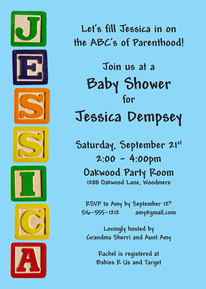 Baby Blocks Baby Shower Invitation