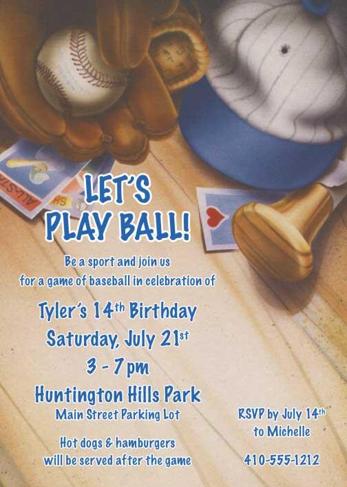 Baseball Gear Invitation