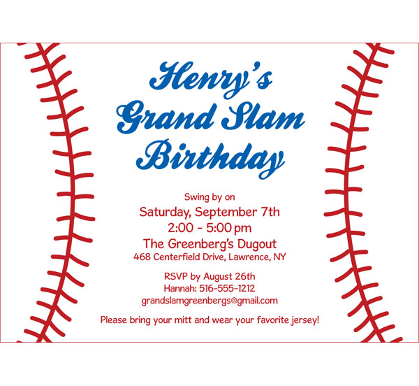 baseball party invitation, Birthday invitations