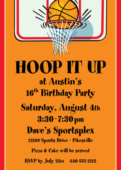 Basketball Hoops Invitation – Basketball Birthday Invitations