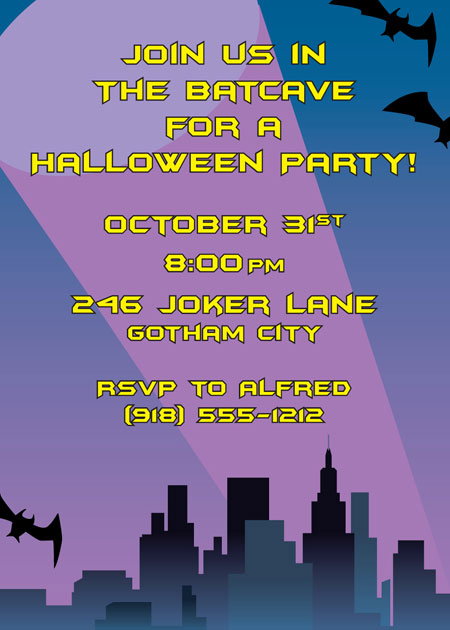 Kapow! Batman Halloween Invitation