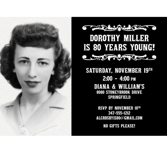 A Vintage Birthday Milestone Photo Invitation