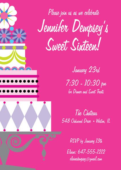 Birthday Cake Sweet 16 Invitation
