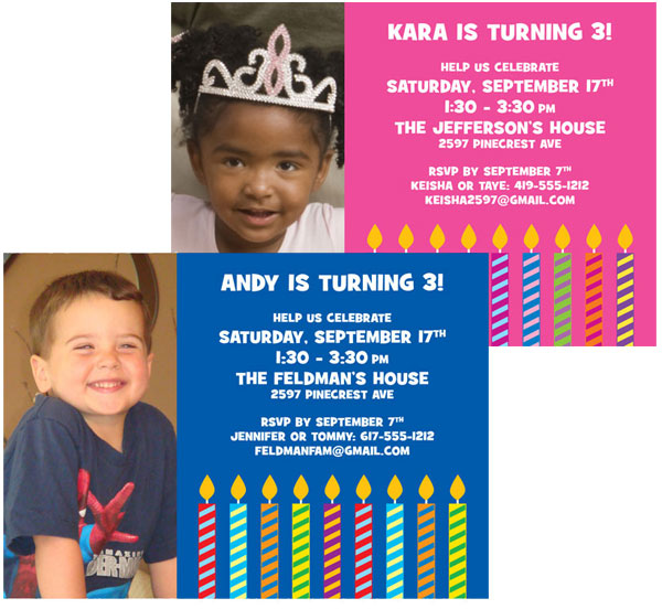 Birthday Candles Photo Invitation
