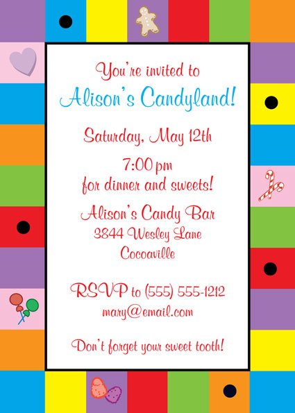 Candyland Invitation – Candyland Birthday Party Invitations