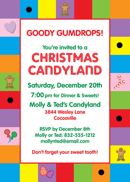 Christmas Candyland Theme Party.Christmas Candyland Invitation