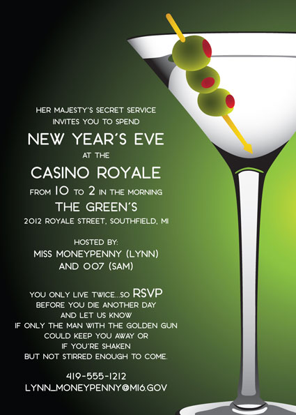 Casino Royale Martini Party Invitation – Champagne Party Invitations
