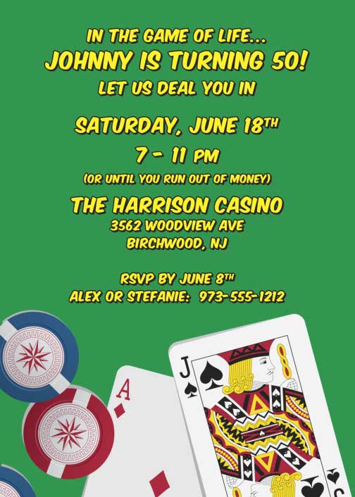 Casino Cards Party Invitation