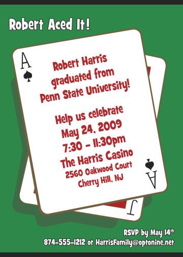 casino playing card theme invitation