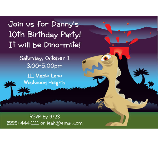 Dinosaur Party Kid's Birthday Invitation