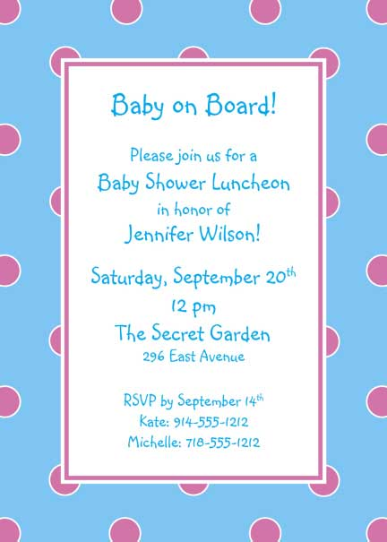 Polka Dot Invitation, Blue and Pink