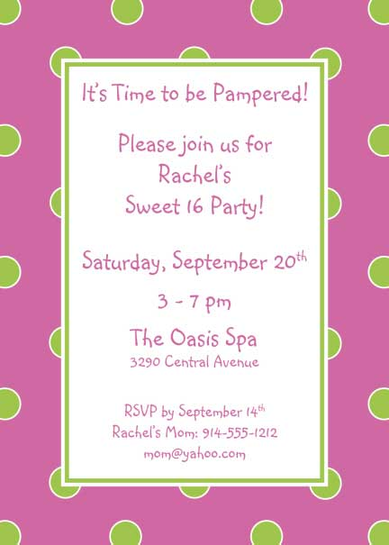 Polka Dot Invitation, Pink and Green