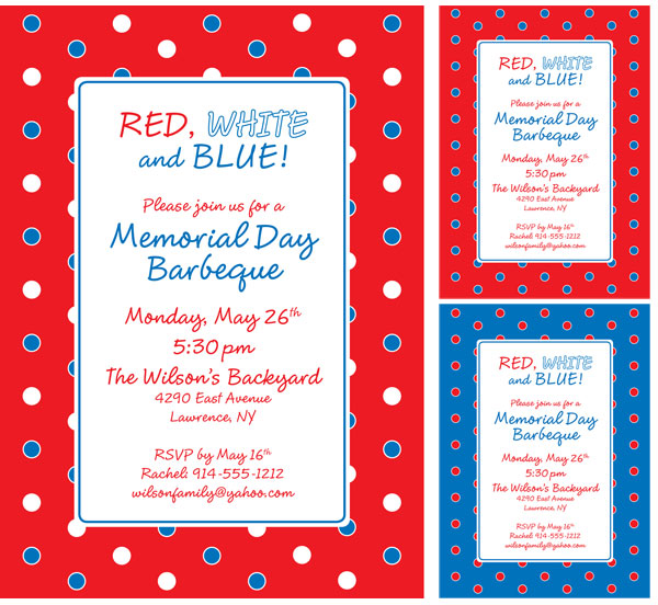 polka dot patriotic invitation